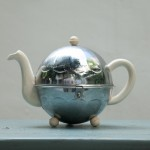 chrome covered tea pot
