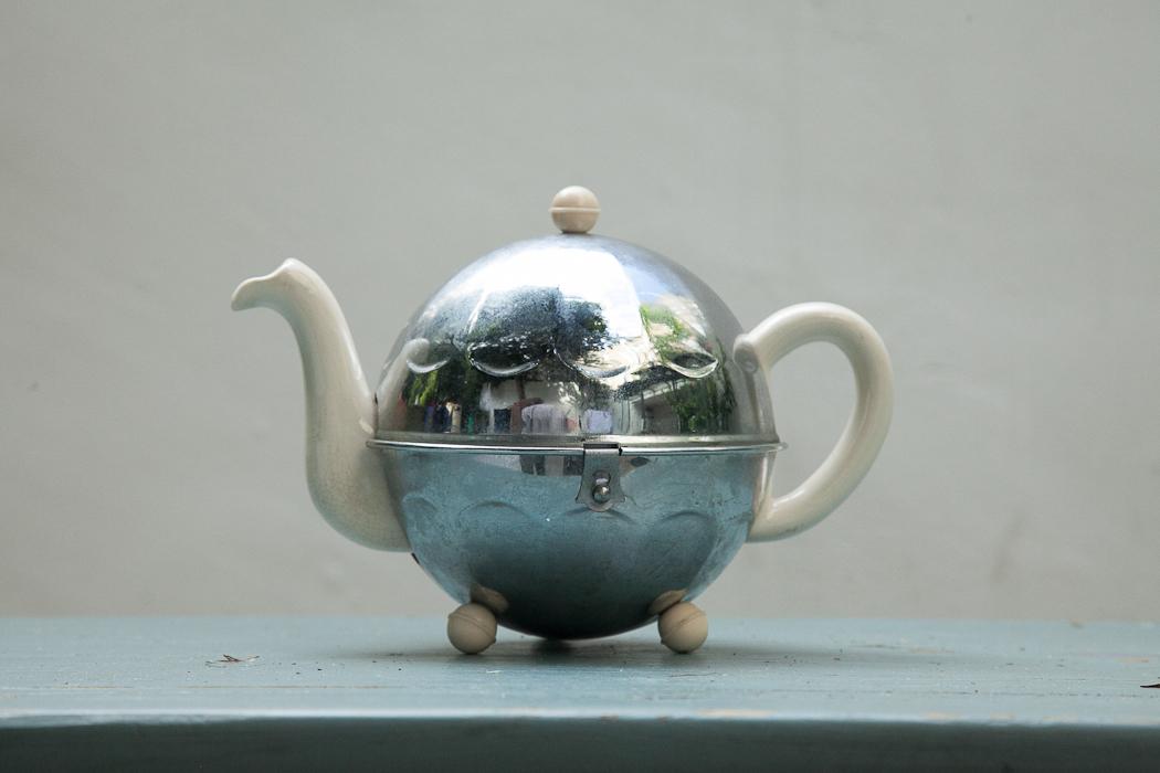 chrome covered tea pot