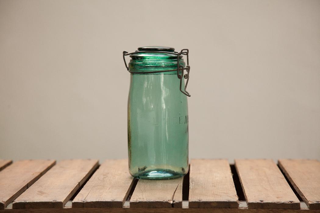 Green Glass Storage Jar