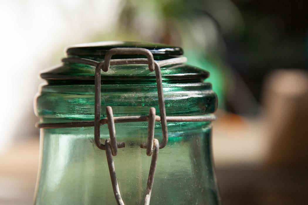Green Glass Storage Jar ...
