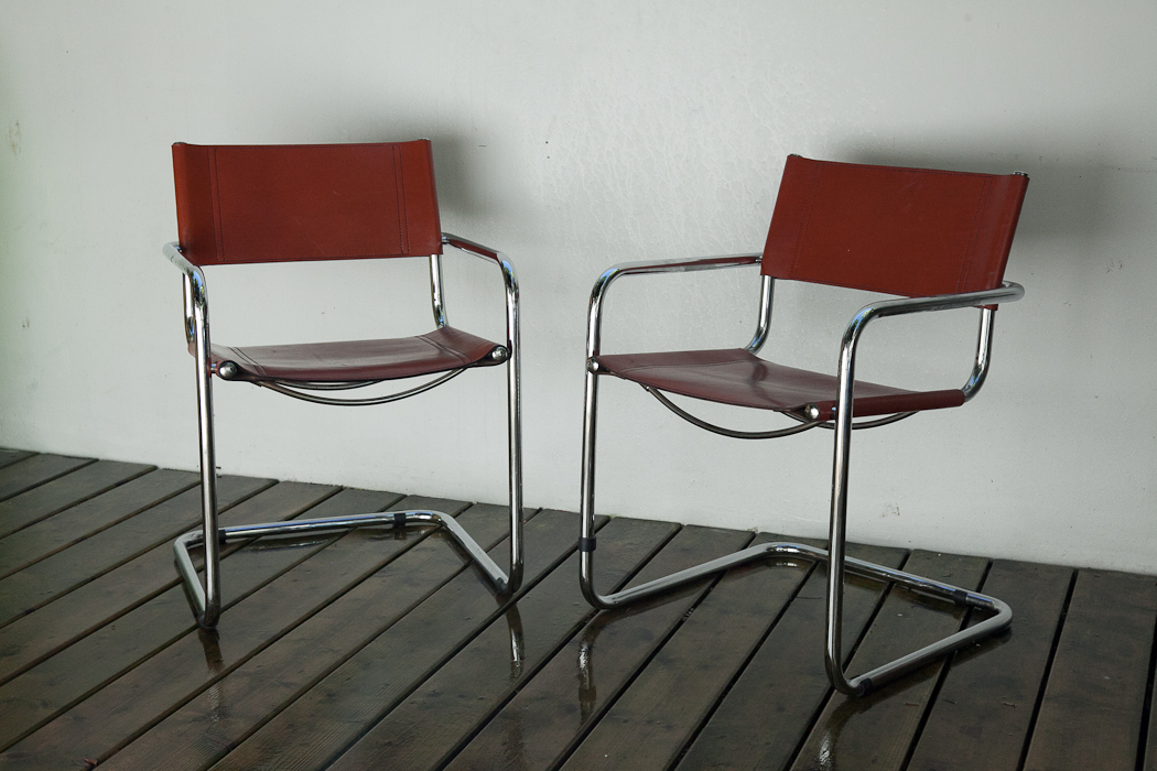 leather and chrome tube chairs